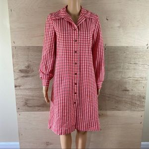 Vintage 70's Plaza South Res White Checkered Dress